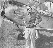 Maurice Wilson with his aeroplane, Ever Wrest, before his flight to India