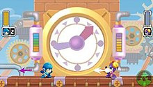 A rectangular video game screenshot that depicts a blue character sprite facing a purple character sprite in front of a large clock.