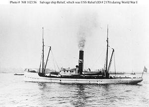"Merritt-Chapman & Scott - Salvage Tug Relief prior to 1918 sale to US Navy (note black horse ""house flag"" on stack)"