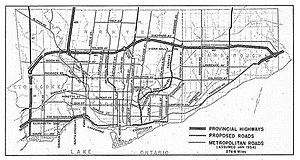 Cancelled expressways in Toronto - Metro Toronto 1954 plan. With some changes, this resembles the currently built network.