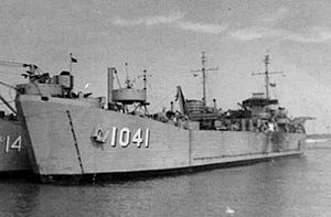 USS Montgomery County (LST-1041) moored at Little Creek Amphibious Base, Virginia, 1951