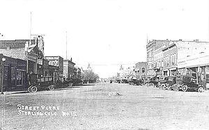 Sterling, Colorado - Sterling's Main Street in the 1920s, looking northwest from the railroad tracks.