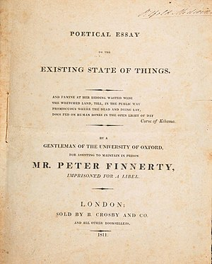 Poetical Essay on the Existing State of Things - 1811 title page, B. Crosby and Company, London.