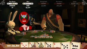 """Poker Night at the Inventory - Gameplay of Poker Night at the Inventory showing the player winning a showdown with Max with a straight. Strong Bad and the Heavy have folded and Tycho has busted out. Strong Bad is saying to the player, """"Nice hand, gigantic cheater."""""""
