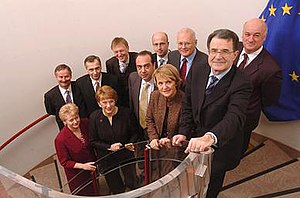Prodi Commission - New members of May 2004 with president Prodi