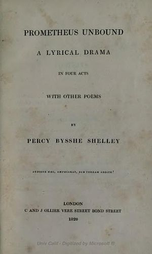 Ode to the West Wind - 1820 cover of Prometheus Unbound, C. and J. Collier, London