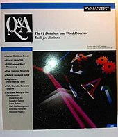 "A white retail box labeled ""Q&A: The #1 Database and Word Processor Built for Business"""