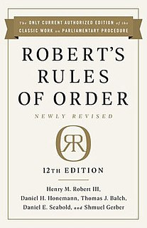 <i>Roberts Rules of Order</i> Book on parliamentary procedure by Henry Martyn Robert