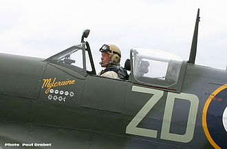 Ray Hanna - Ray Hanna in the cockpit of Spitfire MH434 at Biggin Hill, 2004.