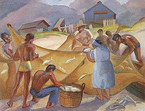 Robert Lee Eskridge - Hukilau, oil on canvas painting by Robert Lee Eskridge, c. 1940