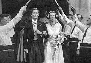 Rolf Gardiner - Rolf Gardiner at his wedding to Marabel Hodgkin in 1932. The North Skelton sword dance group form the guard of honour.