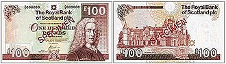 Royal Bank of Scotland - A £100 Royal Bank of Scotland note of the Ilay series