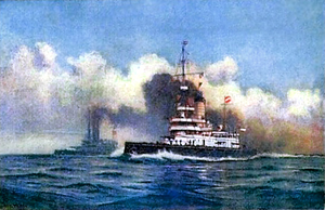 SMS Budapest - A painting from Alexander Kircher showing SMS Wien and the other ships of the Monarch class on maneuvers