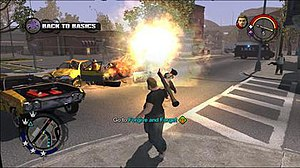 Saints Row (video game) - A player fires at traffic with the rocket launcher