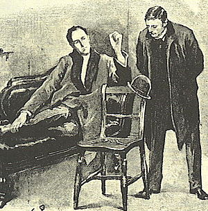 "Boho-chic - Sherlock Holmes ""upon the sofa in a purple dressing gown"" in The Adventure of the Blue Carbuncle (Illustration by Sidney Padget, Strand Magazine, 1891)"