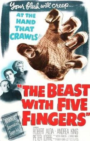 The Beast with Five Fingers - Theatrical release poster