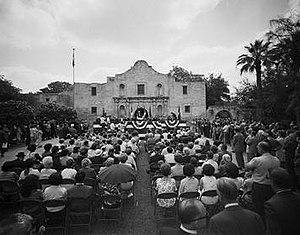 University of Texas at San Antonio - Governor Smith signs HB 42 in a ceremony at the Alamo, officially founding UTSA