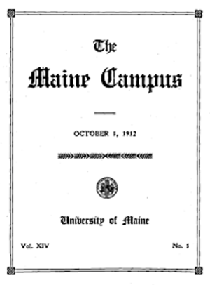 The Maine Campus - The cover of an early copy of The Maine Campus from 1912