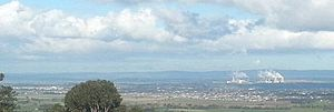 Traralgon - View south over the Traralgon urban area from Tyers lookout