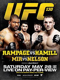 A poster or logo for UFC 130: Rampage vs. Hamill.