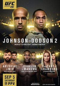 A poster or logo for UFC 191: Johnson vs Dodson 2.