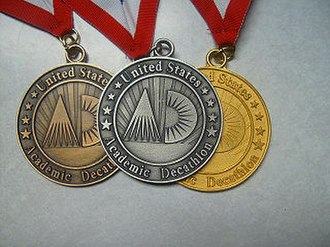 United States Academic Decathlon - Bronze, silver, and gold medals from the e-Nationals competition, which are the same as those of the National competition