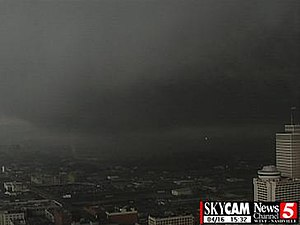 Tornado outbreak of April 15–16, 1998 - Screen shot of WTVF's Skycam as the F3 tornado passed through downtown Nashville.