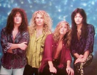 White Lion - White Lion as seen in 1989.  From left to right: Greg D'Angelo, Mike Tramp, James LoMenzo, and Vito Bratta.