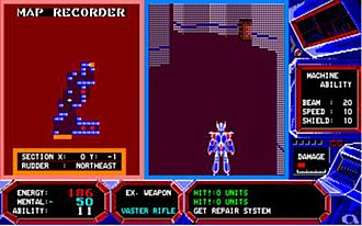 Arsys Software - The MS-DOS port of Wibarm (1986), an early role-playing shooter that combines shooter and role-playing game elements. Screenshot demonstrates early use of 3D polygon graphics, third-person perspective, and automap feature.