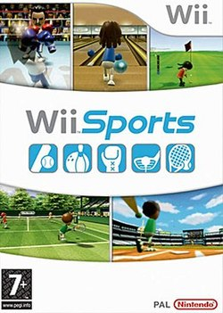 "Artwork of a vertical rectangular box. The top third displays three screen shots from the game: two characters with boxing gloves fighting in a boxing ring, a character holding a bowling ball at a ball pit , and a character holding a golf  at the putting green of a golf course The Wii logo is shown at the upper right corner. The center portion reads ""Wii Sports"" over five blue boxes depicting different sports equipment. The lower third displays two more screen shots from the game: a character holding a tennis racket at a tennis court and a character swinging a baseball bat in a stadium. The PEGI ""7+"" rating is shown on the bottom left corner and the Nintendo logo is on the bottom right corner."