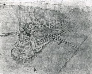 Point Park Civic Center - A bird's eye view of Wright's first scheme for the Point Park Civic Center, done in 1947