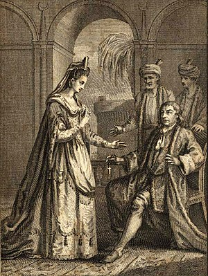 Zaïre (play) - David Garrick as Lusignan and Elizabeth Younge as Zara in Act II, Scene 3 of Zara (London, 1774)