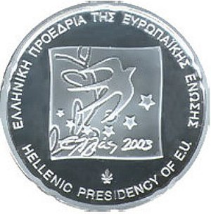 Treaty of Accession 2003 - Image: 2003 Greece 10 Euro Presidency front