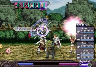 Ar Tonelico: Melody of Elemia - Mid-battle with Lyner, Jack, Radolf, and Aurica in the Lower World