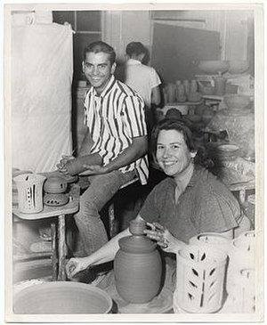 Ralph Bacerra - Ralph Bacerra and Vivika Heino at Chouinard Art Institute, Los Angeles, 1958, unidentified photographer. Ralph Bacerra papers, Archives of American Art, Smithsonian Institution.