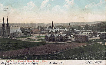 """Postcard of """"Bird's Eye View"""" of downtown New Britain, before 1907"""