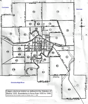 Calgary (provincial electoral district) - Image: Calgary electoral district 1930
