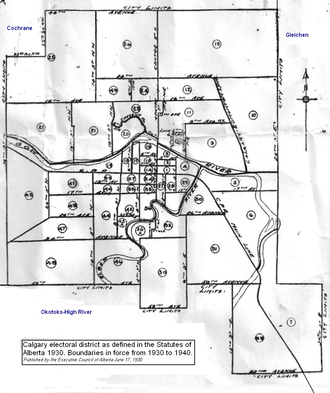 Calgary (provincial electoral district) - Image: Calgary electoral district 1930