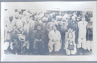 Hazara, Pakistan - In this picture seated (left to right): Sahibzada Mohammad Khurshid (first Pakistani Governor of the NWFP), Nawabzada Liaquat Ali Khan (Liāqat Alī Khān) (Urdu: لیاقت علی خان) listen (help·info) (2 October 1896 – 16 October 1951) the first Prime Minister of Pakistan, Nawab Sir Muhammad Farid Khan Tanoli (Nawab of Amb) and Begum Ra'ana Liaquat Ali Khan (wife of Liaquat Ali Khan). Darband, Amb State, 1949.