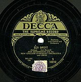 Original 1929 Decca release of Sea Drift by Delius, first published recording of the work, but deleted by 1936.