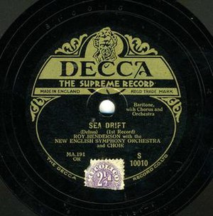 Decca Records - Original 1929 Decca release of Sea Drift by Delius, first published recording of the work, but deleted by 1936