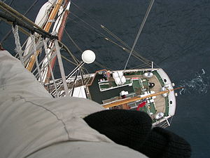 Brace (sailing) - The starboard main-brace and main-topsail-braces are clearly silhouetted against the sea in this photo of the Prince Williams bridge and stern deck from her masthead. The main-topgallant and main-royal braces run forwards to the foremast and are not visible in this picture.