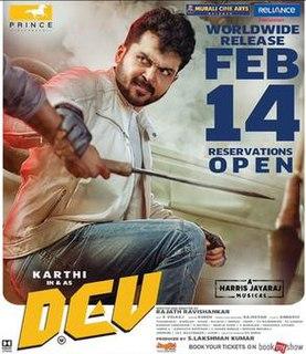 <i>Dev</i> (2019 film) 2019 Indian Tamil film directed by Rajath Ravishankar