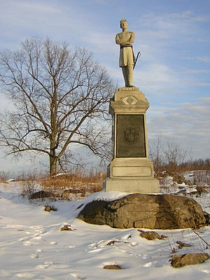 Augustus van Horne Ellis - Monument to 124th New York at Gettysburg's Devil's Den, featuring Colonel Ellis, December 2005