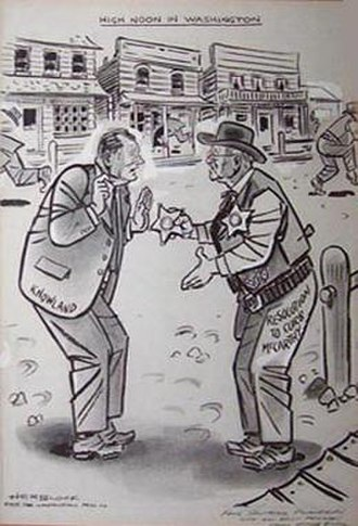 Ralph Flanders - High Noon in Washington Herblock cartoon depicting Flanders attempting to deputize a reluctant Senator William F. Knowland in the effort to censure Senator Joseph McCarthy.