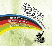 A human figure, kneeling, playing a large drum, and singing, with the four drummers' names appearing in a rainbow