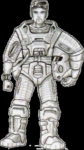 Gordon Freeman - An early concept art of Gordon Freeman, wearing a bulkier HEV suit, helmet, and goggles.