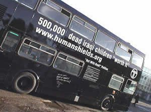 Human shield action to Iraq - Human shields black bus, 25 January 2003