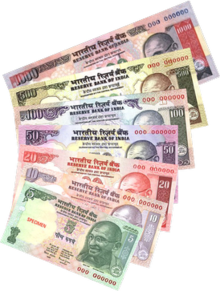 Banknotes Of Denominations 5 10 20 50 100 500 And 1000 The Mahatma Gandhi Series