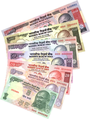 Mahatma Gandhi Series - Banknotes of denominations of ₹5, ₹10, ₹20, ₹50, ₹100, ₹500 and ₹1000 of the Mahatma Gandhi Series